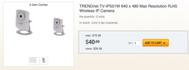 TRENDnet TV-IP551W 640 x 480 Max Resolution RJ45 Wireless IP Camera