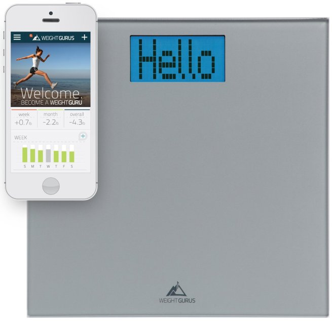 Weight Gurus Smartphone Connected Digital Bathroom Scale with Large Backlit LCD and Weightless Technology