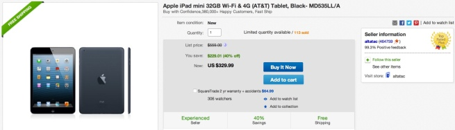 Apple iPad mini 32GB Wi-Fi & 4G (AT&T) Tablet MD535LL:A
