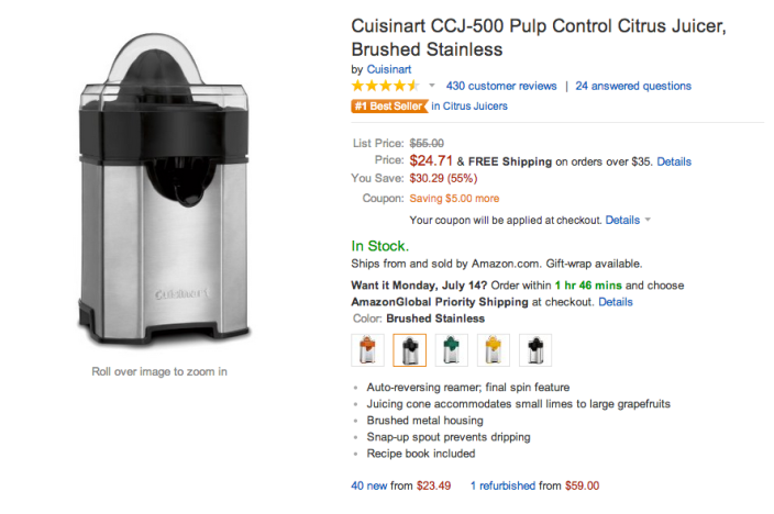 Cuisinart CCJ-500 Pulp Control Citrus Juicer (Brushed Stainless)-sale-02