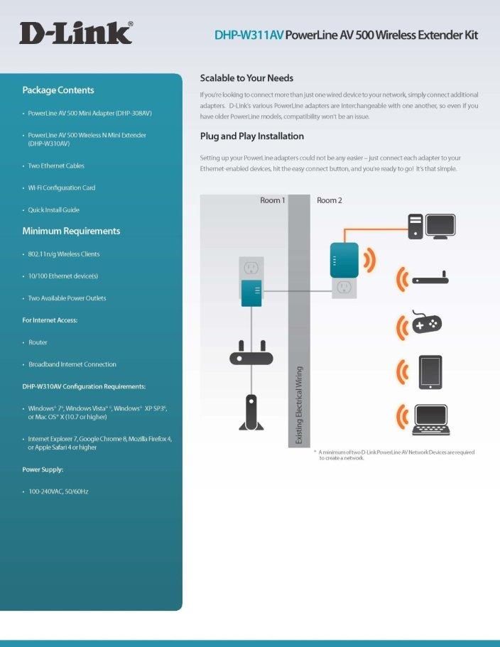 D-Link Wireless AV500 Wireless N Mini PowerLine Adapter Starter Kit (DHP-W311AV)-sale-03