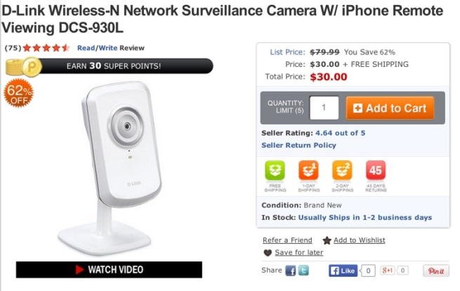 D-Link Wireless-N Network Surveillance Camera W: iPhone Remote Viewing DCS-930L