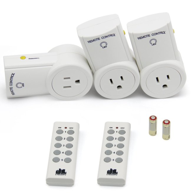 Etekcity® 3 Pack Wireless Remote Controlled Outlet Socket with 2 remotes, auto-programmable, 100ft range, great for immobile (Battery included)
