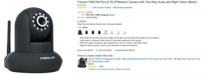 Foscam FI8910W Pan & Tilt IP:Network Camera with Two-Way Audio and Night Vision (Black)