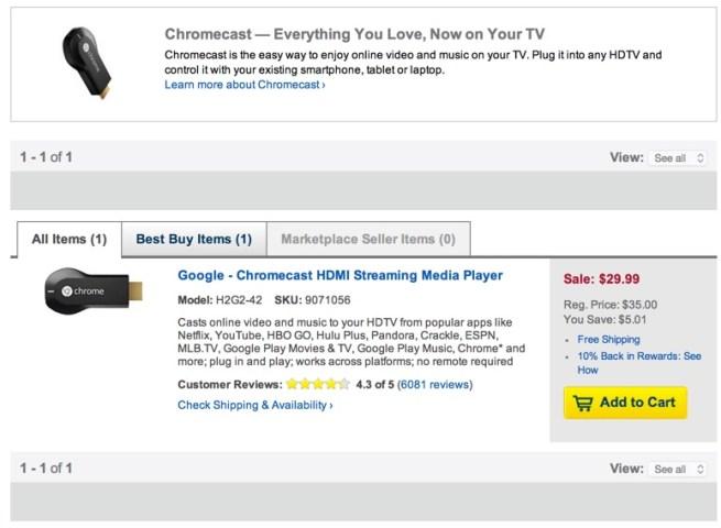 Google Chromecast $30