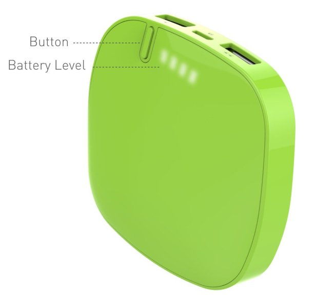 Lepow Moonstone 6000mAh External Battery with Dual USB Ports for iPhone 4:4S:5:5C:5S Samsung S3:S4 -Retail Packaging - Apple Green