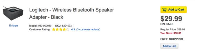 896243512792b Logitech Bluetooth Audio Adapter $30 shipped (Reg. $40) - 9to5Toys