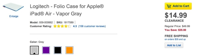 Logitech - Folio Case for Apple® iPad® Air - Vapor Gray