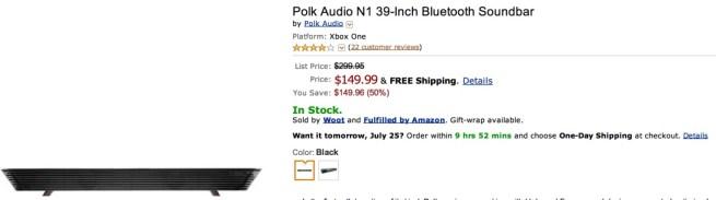 Polk Audio  39-Inch Bluetooth Soundbar