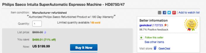 Saeco Intuita Automatic Espresso Machine-sale-01