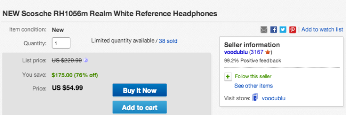 Scosche (RH1056M) over-ear reference headphones in white-sale-02