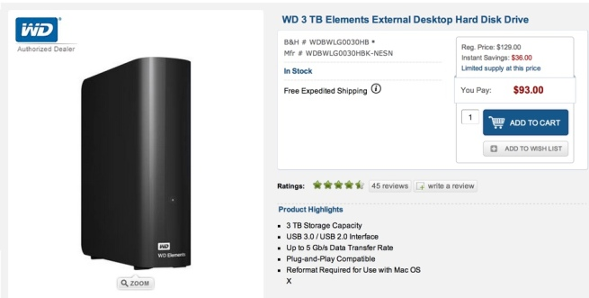 WD 3 TB Elements External Desktop Hard Disk Drive