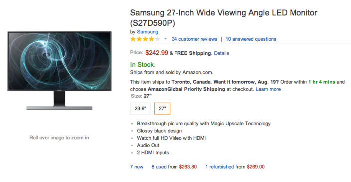 27-Inch Samsung Wide Viewing Angle LED Monitor (S27D590)-sale-Amazon-02