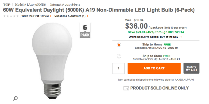 60W (5000K) A19 Non-Dimmable LED Light Bulbs-SALE-01
