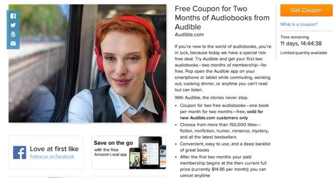 Amazon Local Audible two free audiobooks