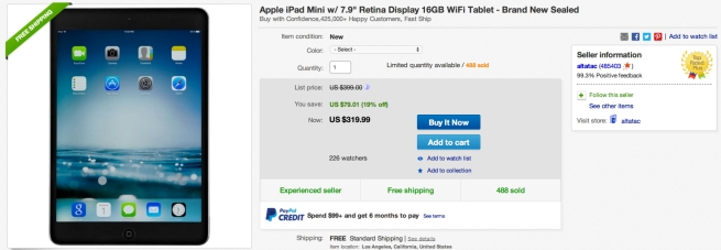 Apple iPad Mini w: 7.9%22 Retina Display 16GB WiFi Tablet -