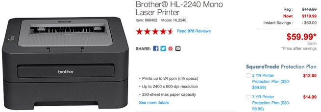 Brother HL-2240 Mono Laser Printer