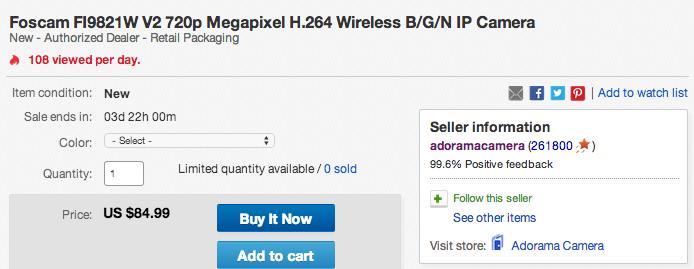 Foscam FI9821W V2 720p Megapixel H.264 Wireless IP Camera-sale-ebay-03