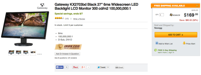 Gateway-27inch-sale-newegg
