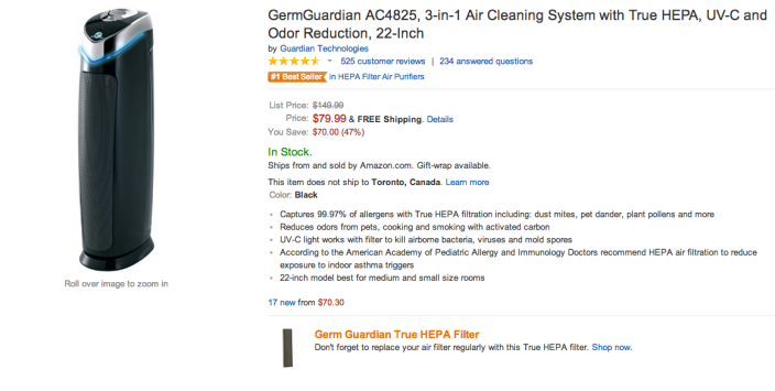GermGuardian A3-in-1 Air Cleaning System with True HEPA, UV-C and Odor Reduction (C4825)-sale-02