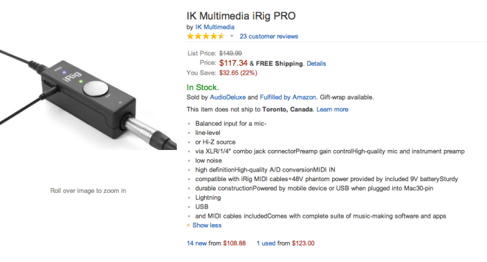 IK Multimedia iRig PRO universal Audio:Midi interface for iPhone, iPad and Mac-sale-02
