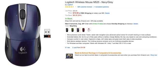 Logitech Wireless Mouse M525 in Navy