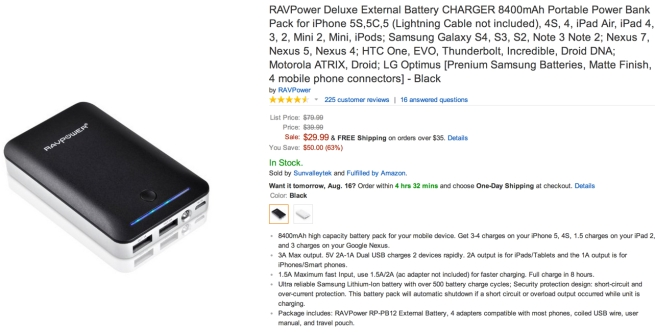 RAVPower Deluxe External Battery CHARGER 8400mAh Portable Power Bank Pack for iPhone 5
