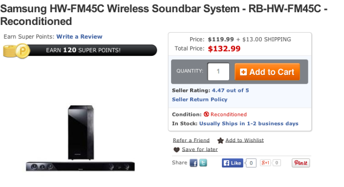 Samsung HW-FM45C 280W soundbar and wireless subwoofer-sale-02