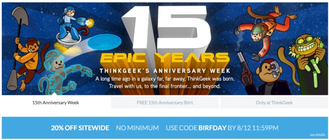 ThinkGeek 20% off sale