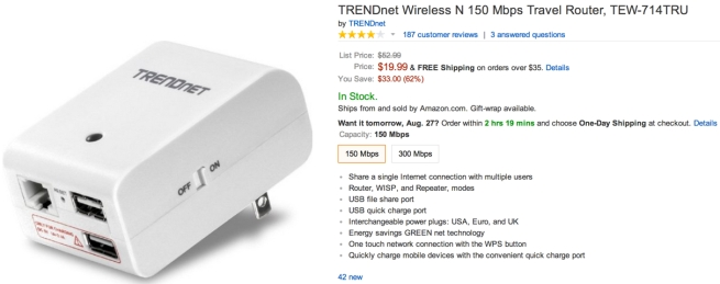TRENDnet Wireless N 150 Mbps Travel Router, TEW-714TRU