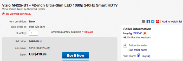 42-inch VIZIO 1080p Smart LED TV (M422i-B1)-sale-02