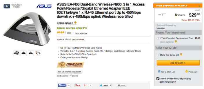ASUS Dual Band N450 Ultra-Fast Wireless 3-In-1 (AP, Repeater, Ethernet) Adapter (EA-N66)-sale-02