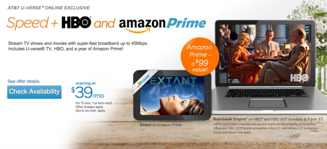 AT&T u-verse HBO Amazon Prime