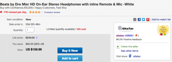 Beats by Dre Mixr HD On-Ear Stereo Headphones with inline Remote & Mic (white)-sale-02
