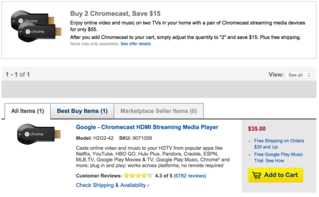 Best Buy Buy 2 chromecast save $15