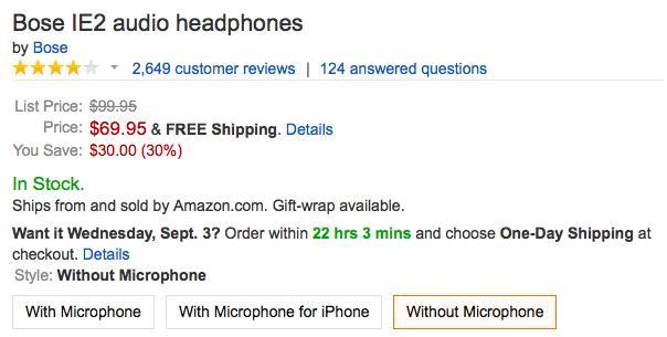 bose-ie2-headphones-amazon-deal