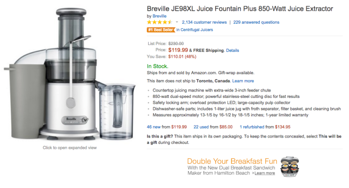 Breville Juice Fountain Plus 850-Watt Juice Extractor-JE98XL-sale-02