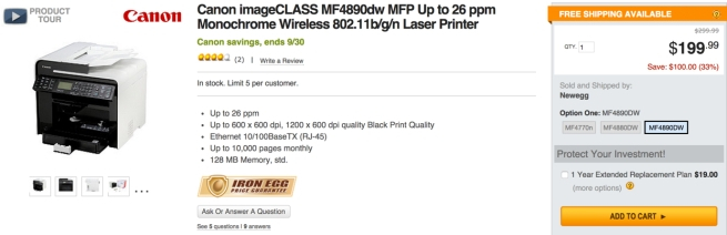 Canon imageCLASS MF4890dw MFP Up to 26 ppm Monochrome Wireless