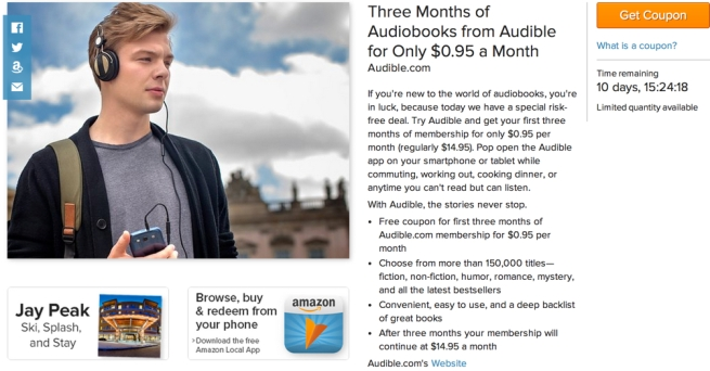 Get 3-months of Audible.com access for $0.95:month ($45 value) for new customers only