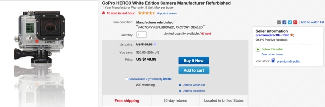 GoPro HERO3 White Edition Camera Manufacturer Refurbished