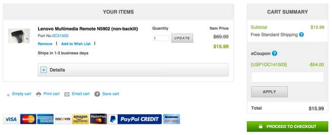 Lenovo Multimedia Remote coupon
