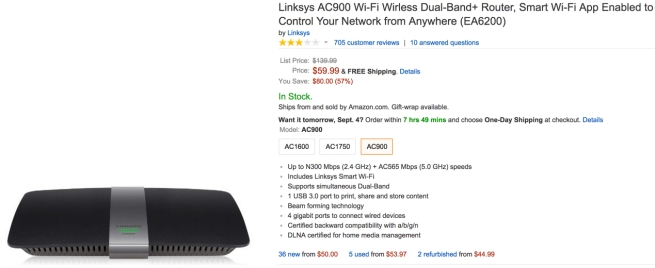 Linksys AC900 Wi-Fi Wirless Dual-Band+ Router, Smart Wi-Fi App Enabled to Control Your Network from Anywhere (EA6200)