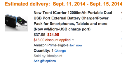 New Trent iCarrier 12000mAh Portable Dual USB Port External Battery Charger:Power Pack for Smartphones, Tablets and more