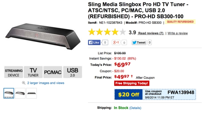Slingbox Pro HD TV Streamer refurb $50 shipped (Orig. $200 ...