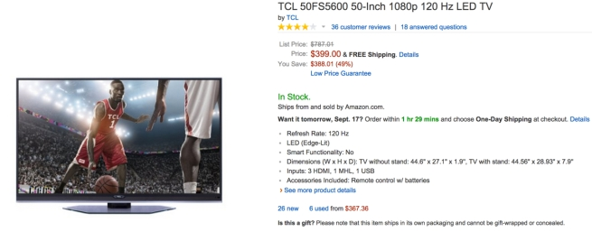 TCL 50-Inch 1080p 120 Hz LED TV