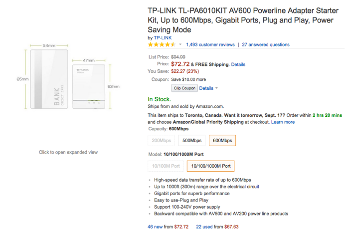 TP-LINK AV600 Powerline Adapter Starter Kit (TL-PA6010KIT)-sale-02
