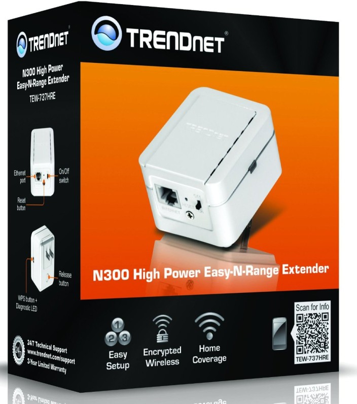 TRENDnet Wireless N 300 Mbps Easy-N-Range Wall-Plug-in Universal Wi-Fi Network Range Extender Repeater, TEW-737HRE