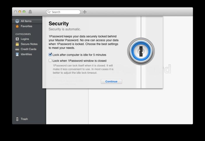 1P4 Mac setup security