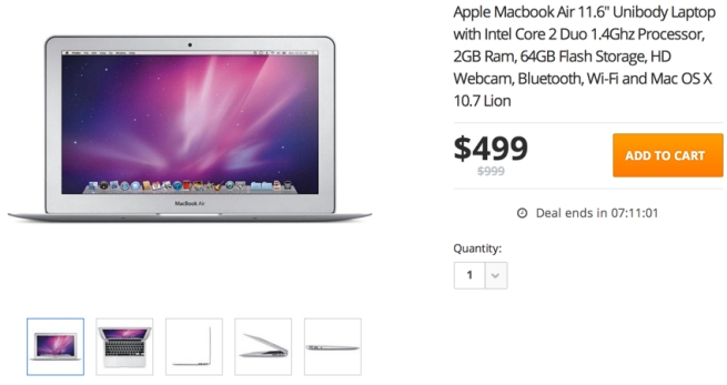 Apple Macbook Air 11.6'' Unibody Laptop with Intel Core 2 Duo 1.4Ghz Processor, 2GB Ram, 64GB Flash Storage, HD Webcam, Bluetooth, Wi-Fi and Mac OS X 10.7 Lion