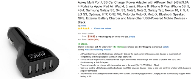 Aukey Multi Port USB Car Charger Power Adapter with AIPower Tech